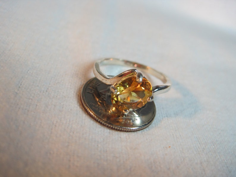 Gold Citrine Heated Amethyst Quartz AAA Color 9x7 Gemstone Solitaire Sz 7 Ring Natural Brazil vvs Clear Earth Mined Solid 925ss Premium US