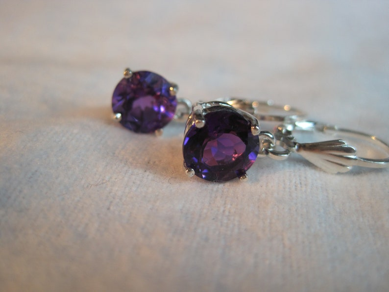 Genuine Amethyst African Natural Untreated Unheated AAA Color 8mm Gemstone Stud DangleLeverback Earring vvs Earth Mined Solid 925 SS USA