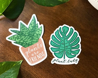 Set of Two Plant Stickers, Hand Drawn Plant Lady Sticker and Plants are Friends Sticker, Cute Crazy Plant Lady Gift, Water Bottle Stickers