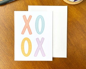 Fun XOXO Card, XOXO Greeting Card, Hugs and Kisses Card, Fun Illustrated Greeting Cards, Colorful Stationery, Cute Just Because Cards