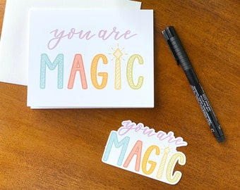 You Are Magic Gift Card Set, Sticker Gift, Encouragement Gift, You Are Magic Card and Sticker