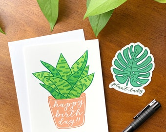 Plant Lady Gift, Plant Lady Birthday Gift Set, Includes Card and Sticker, Happy Birthday Plant Card, Plant Lady Sticker, Plant Lover Gift