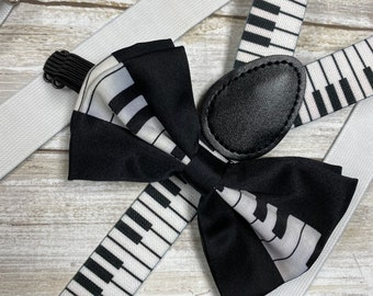 "Men/'s Jazz Suspenders Braces Clip-on 1/"" Wide Elastic Music Notes or Piano Keys"