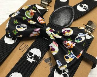 Male Skull Cross Bones and Female Skull w// Bow Collage Suspenders