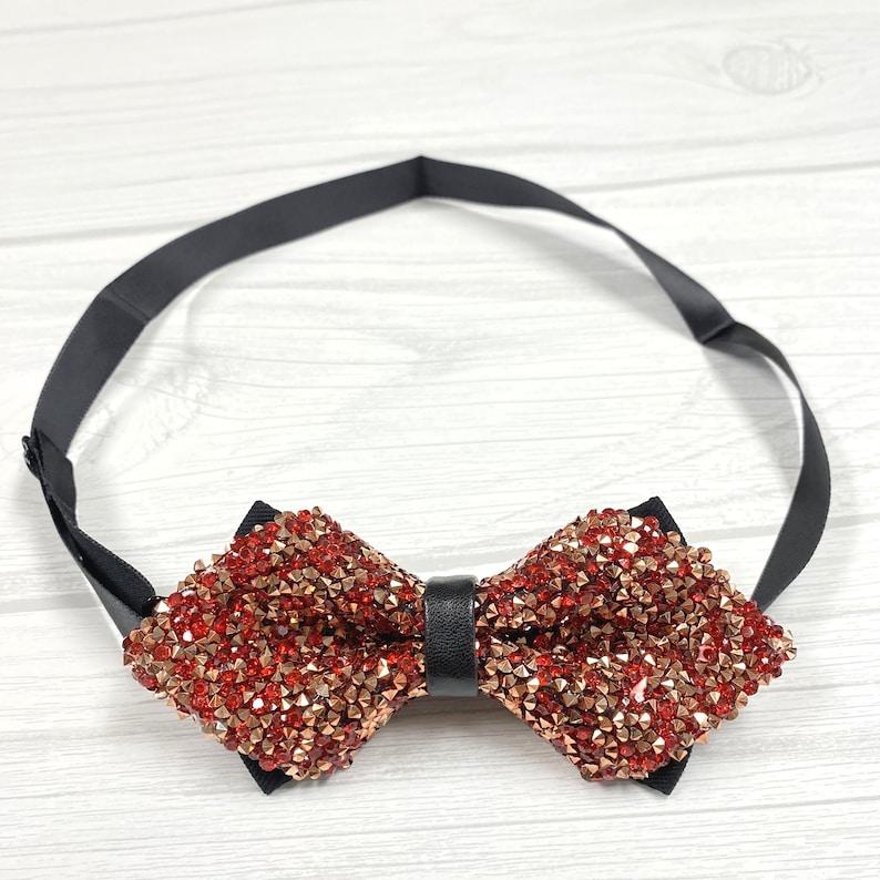 Red Glitter Suspender Rhinestones Diamond Point Bowtie Matching Set  Crystal  Teens Women Men Adult Wedding
