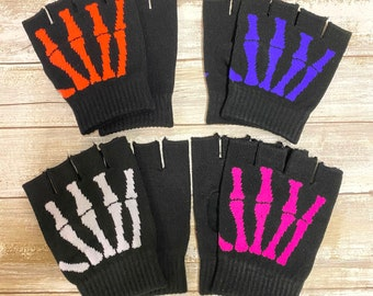 Unisex Men Woman  1 Pair Winter Warm Fingerless Gloves Half Finger Knit Mittens Colors / Skeleton