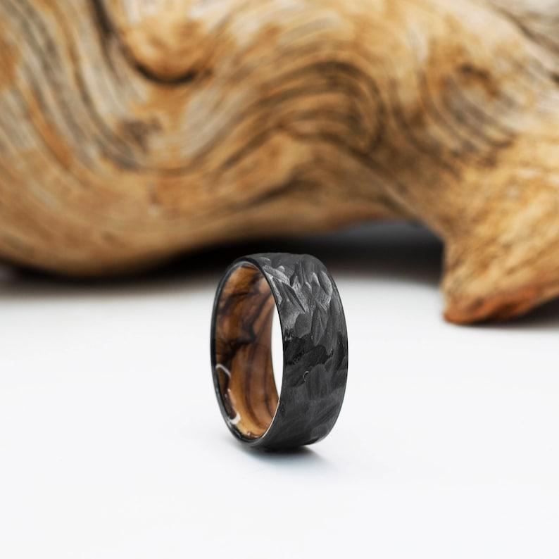 Raw Texture Heat Treated Zirconium Highly Figured Olivewood Zirconium and Olivewood ring Black Ring Black Wedding Band Mens Ring