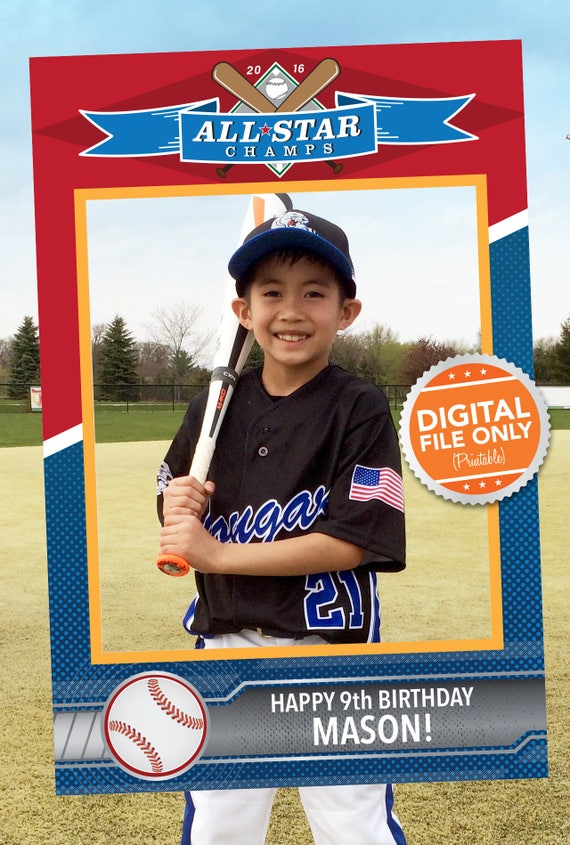 Baseball-Karte Thema Photobooth. Partei Prop Rahmen. Digitale   Etsy