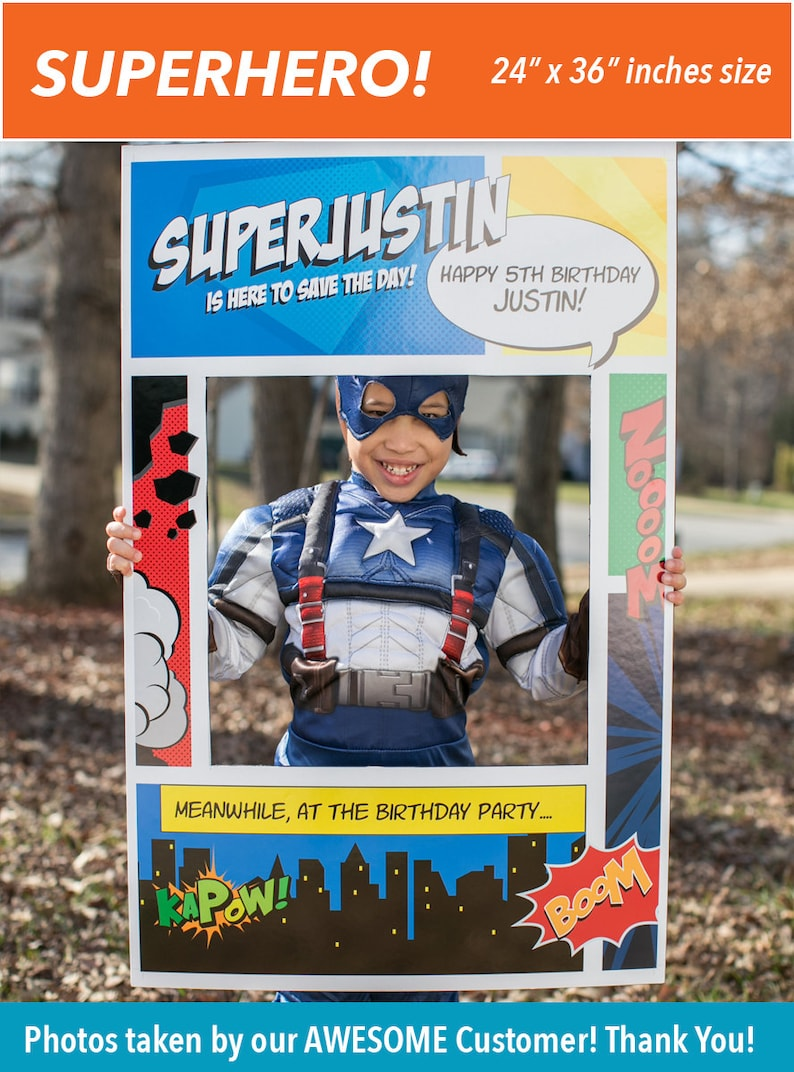 Digital File only Superhero Theme Photo Booth Party Prop Frame