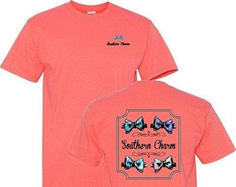 bdbb87c61de5 Southern Charm Preppy Bowtie on a Coral Short Sleeve T Shirt