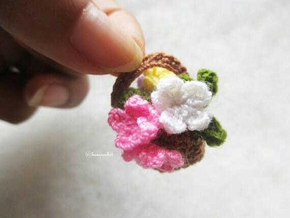 Mini Blumen Korb Häkeln Häkeln Blumen Handarbeit Handwerk Etsy