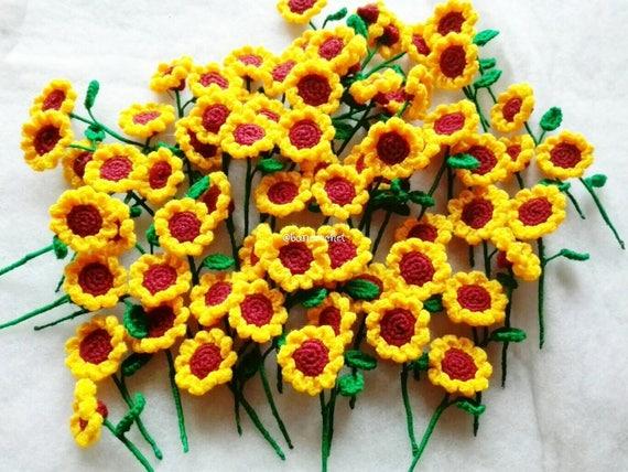 Mini Zonnebloemen Haak Bloemen Gehaakte Bloemen Mini Etsy