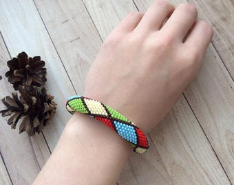 Bright Geometry Crochet Rope Seed Bead Bracelet with Pattern