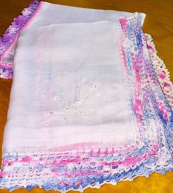 Vintage 40s Ladies Hanky Delicate Filet Crochet Pa