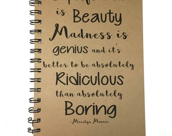 Journal, Notebook, Writing Journal, Marilyn Monroe, Quote, Imperfection is Beauty, Gift, Inspirational, Marilyn Monroe Gift, Sketchbook