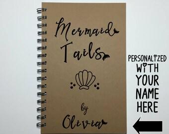 Mermaid, Mermaid Tails, Journal, Writing Journal, Bullet Journal, Notebook, Sketchbook, Cute Journal, Personalized, Gift, Mermaid Gift, Cute