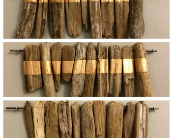 Gold-stripped Driftwood Wall Trio