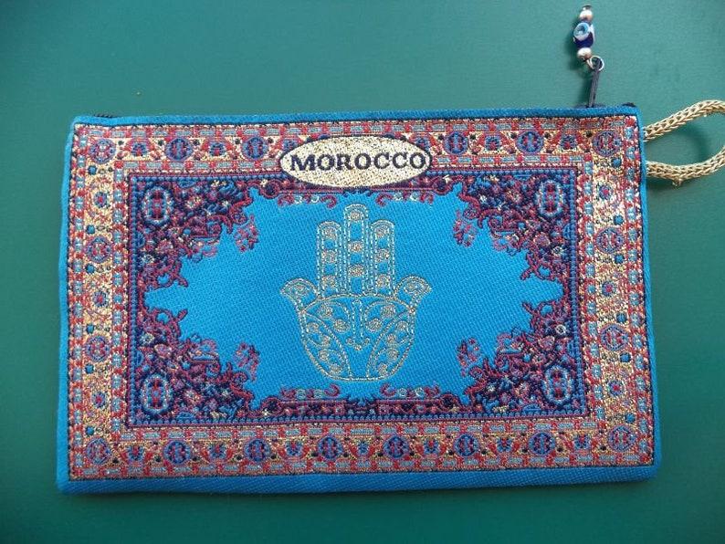 Moroccan wallet Khamssa  hand purse for money /& make up Carpet style Rug