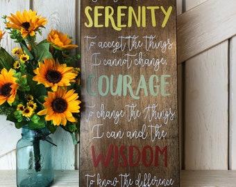 Serenity prayer 12x24 sign / God grant me the serenity / courage / wisdom / inspirational sign / faith / wood sign / home decor / wall decor