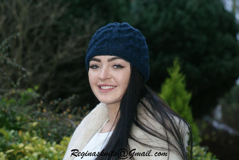 7fa29fe1945 Women Beanie Cashmere Hat Navy Hat Cable Knit Hat
