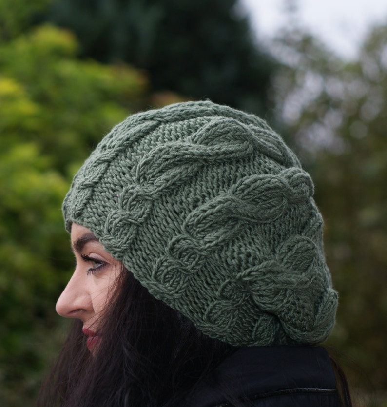 Beret Perfect Christmas Gift, Hand Knit Soft women hat 100/% Merino Green Winter Beanie Accessories Warm Cables Chunky Slouchy