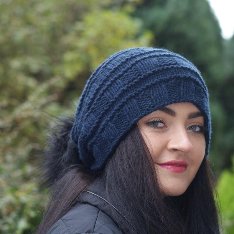 a0e0f2ed4d4 Women Cashmere hat Navy Long Hat Blue Slouchy Cashmere