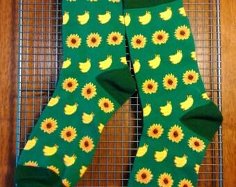 In your shoes: sun flower n banana socks, unisex socks, gift socks, worldwide
