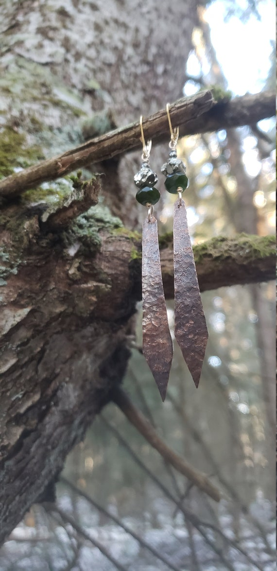 Jade and Copper Dangles