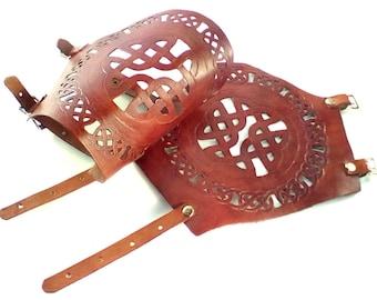 SALE!  Pair of Brown Leather Arm Bracers, Handmade, Armor, Celtic, LARP, SCA, Renaissance