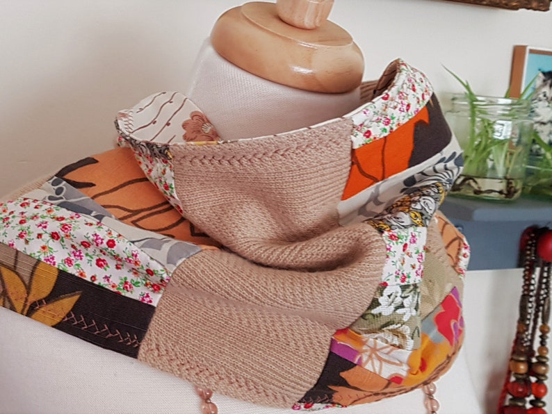 Remember Summer  Upcycled Scarf  One of a Kind  Vegan image 0