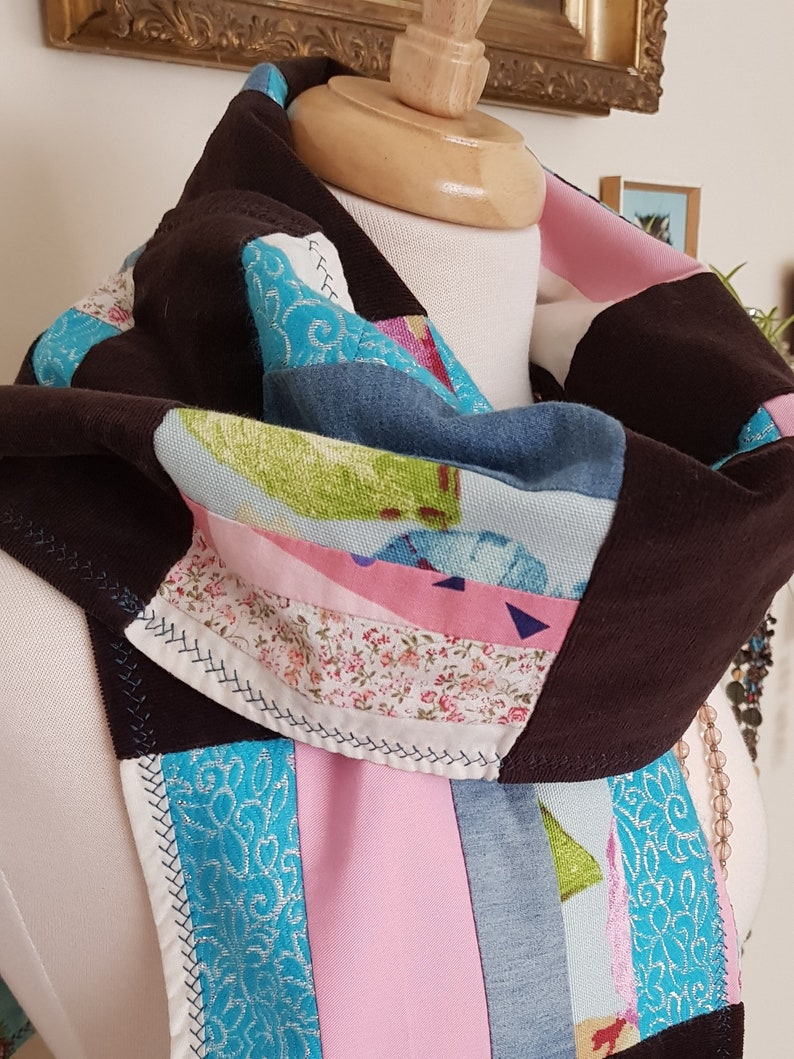 Les Petit Oiseaux  One of a Kind  Upcycled Scarf  Vegan image 0