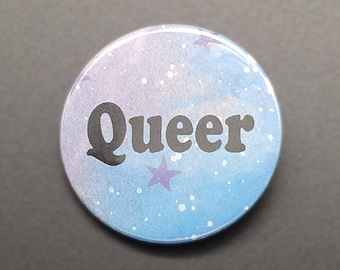 """Queer 1.5"""" pin back button/badge"""