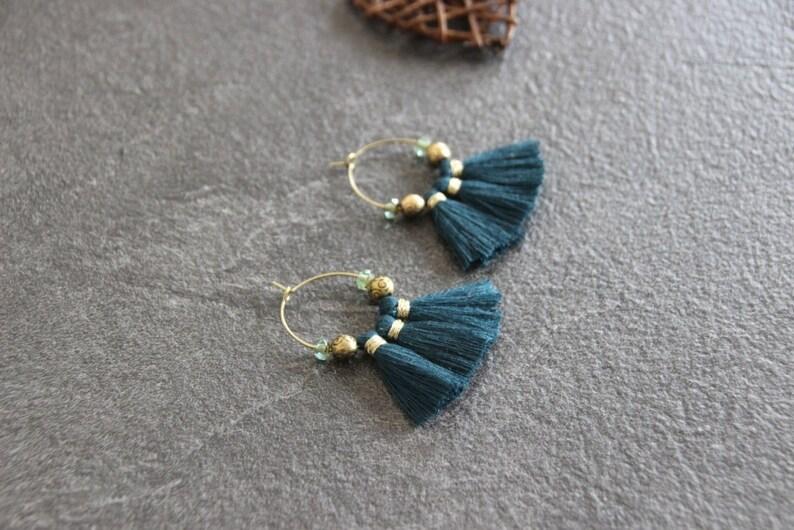 tassels teal hoop earrings tassel earrings hoop earrings tassels small hoop earrings