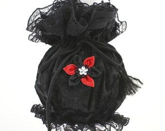 zwarte tas schoudertasje tas schoudertasje koppeling schoudertasje portemonnee schoudertasje handtas pompadour tas gotische tas Victoriaanse tas bag zwart rood 11