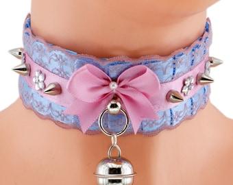 Sale pink collar Kitten play collar BDSM collar ddlg collar pet play collar choker puppy princess pastel gothic kawaii collar fairy kei 1F1