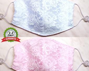 Satin face mask lace face mask with filter pocket wedding face mask bridal washable face mask fashion face mask cotton mask formal face mask