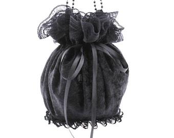 zwarte tas schoudertasje tas schoudertasje koppeling schoudertasje portemonnee fluweel handtas pompadour tas gotische tas Victoriaanse zak kleine tas zwart 99
