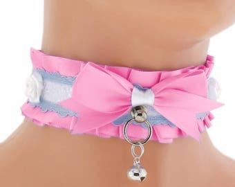 ddlg collar pink Kitten play collar pet play collar BDSM collar choker puppy princess pastel gothic kawaii neko collar fairy kei abdl 1L