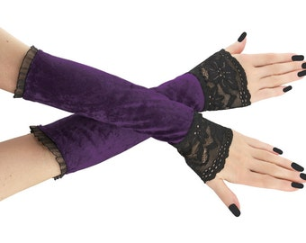 b1acfd999 purple fingerless gloves arm warmers gloves evening gloves women purple black  long gloves burlesque vintage gothic lace wedding bridal 8P