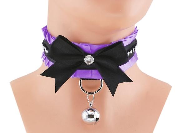 DDLG Choker Lavender and Black Lace Collar Cosplay Choker Lolita Cute Kittenplay Petplay BDSM Collar Submissive Collar