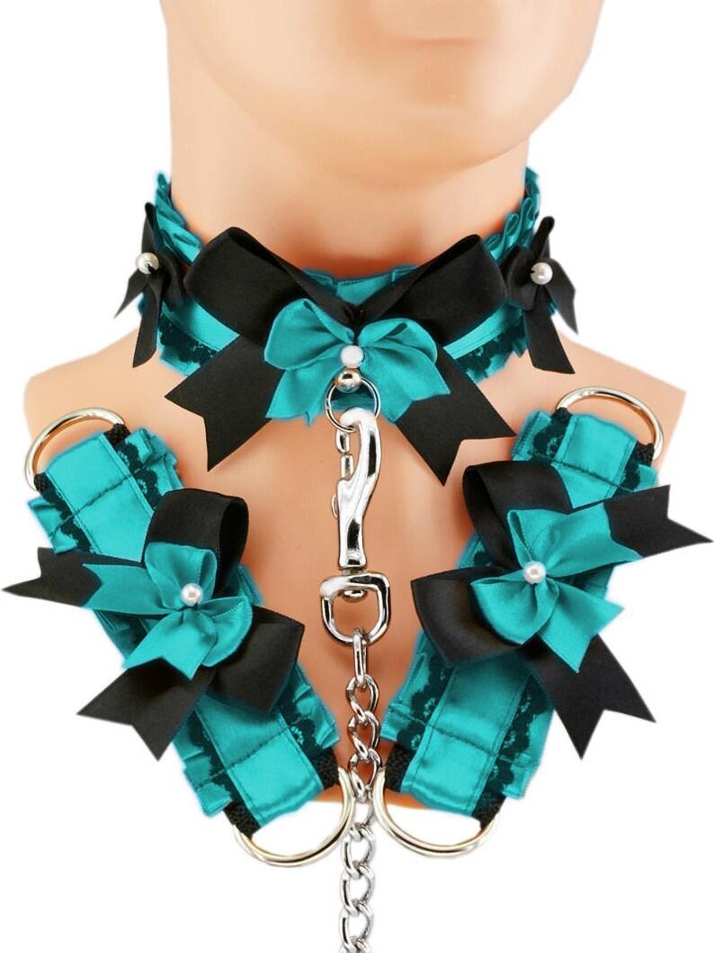 Blue kitten play collar cuffs and leash choker ddlg collar gothic punk kittenplay steampunk bdsm bracelet collar princess kitten goth T5