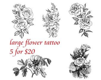 Temporary Tattoo Camellia Rose Black And White Flowers Etsy