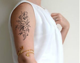 Large Floral Tattoo Etsy