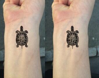 9a66ef16d8c5c TEMPORARY TATTOO - Set of 2 Wrist Size Tattoos / Turtle / Fish / Seahorse /  Starfish / Geo Cat / Bee