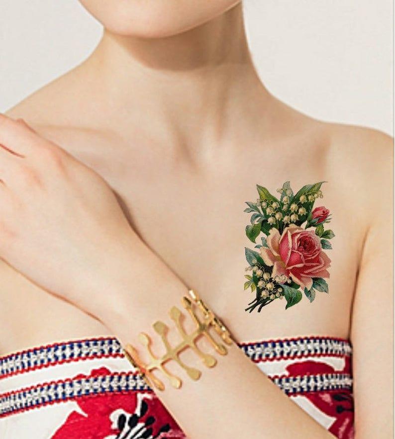 Tatouage Temporaire 4 X 25 Rose Tulipe Lily Etsy