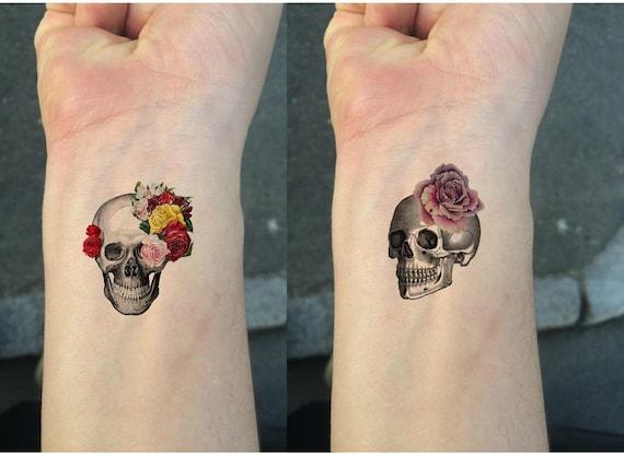 Temporary Tattoo Candy Skulls Tattoo Wrist Size Tattoo Etsy