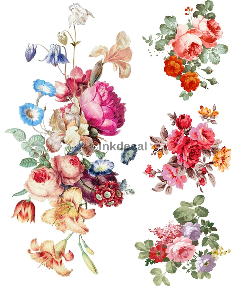 TEMPORARY TATTOO  Set of 4 OR Set of 7 Vintage Florals PICTURE 1