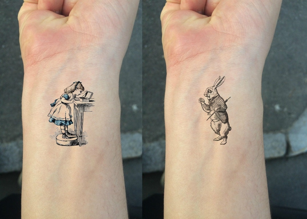 6d2ac8c19 TEMPORARY TATTOO Set of 2 White Rabbit and Alice / Set of 2 | Etsy