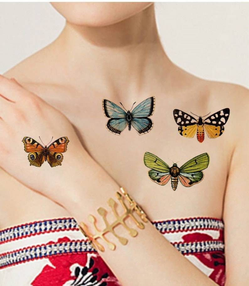 TEMPORARY TATTOO  4 Vintage Butterflies image 0