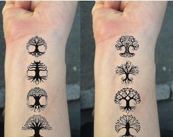 TEMPORARY TATTOO  - Set of 8 Celtic Knot Tree temporary tattoo